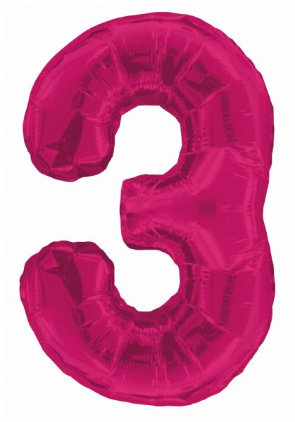 Pink Number 3 Foil Balloon